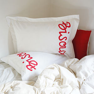 Pair Of 'French Kisses' Pillowcases