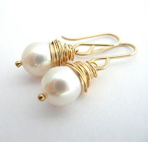 AA Grade Fresh Water Pearl Earrings Gold - wedding jewellery
