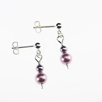 Pearl Earrings - Dusky Pink and mauve
