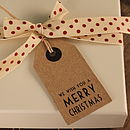 Vintage Merry Christmas Gift Tag Set Of Five