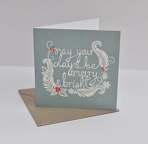 Merry & Bright Greeting Card - SET OF FOUR - cards & wrap