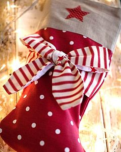 Personalised Candy Stripe Bow Stocking - stockings & sacks