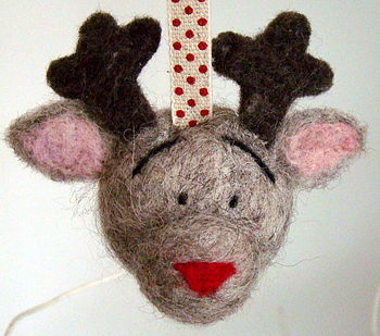 Hand Felted Reindeer Bauble