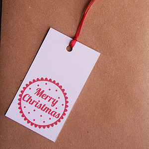 Merry Christmas Gift Tags - Pack Of Five - shop by category