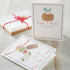 Pack Of Personalised Christmas Cards - christmas cards: packs
