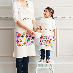 Personalised Adult And Child Pocket Apron Set - free delivery gifts