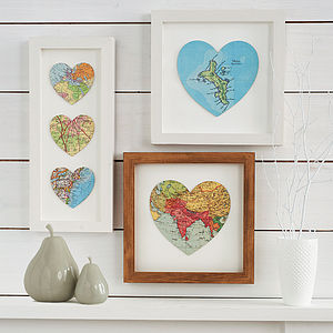 Personalised Map Location Heart Print - treasured places