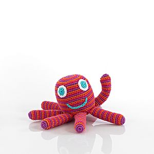 Crochet Octopus Rattle Soft Toy - children's room accessories