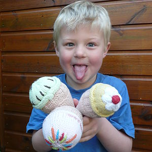 Crochet Ice Cream Rattle Soft Toy - rattles