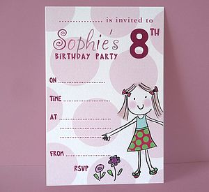 Personalised Girl's Party Invitations - baby & child
