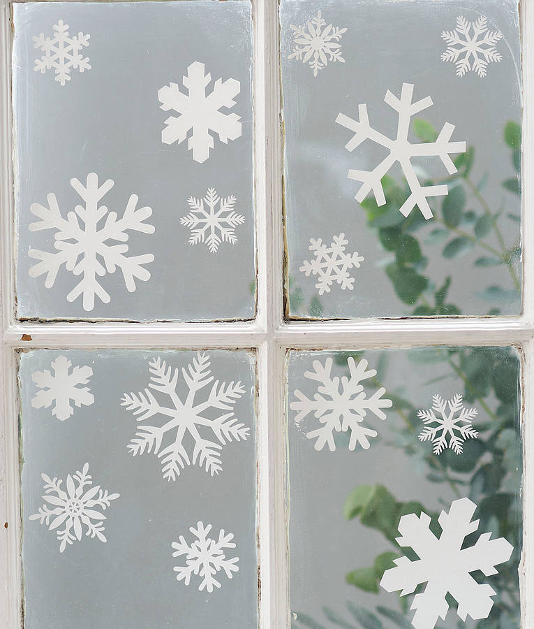 Set of 20 snowflake vinyl stickers by nutmeg for Decoration fenetre blanc de meudon