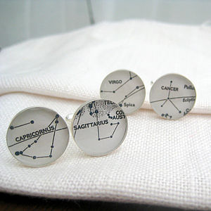 Personalised Silver Constellations Map Cufflinks