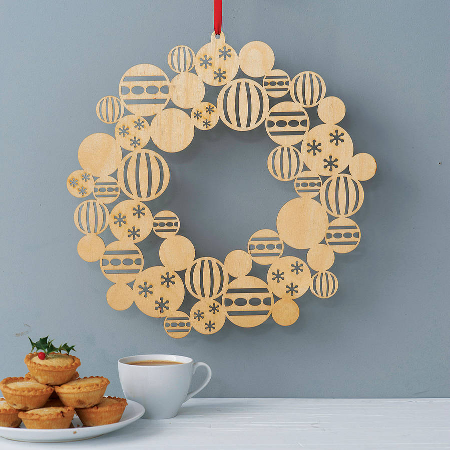 Wooden bauble christmas wreath by gilbert