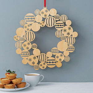 Wooden Bauble Christmas Wreath - outdoor decorations