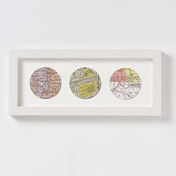 Bespoke Map Circle Trio