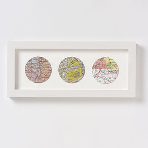 Bespoke Map Circle Trio - mixed media & collage