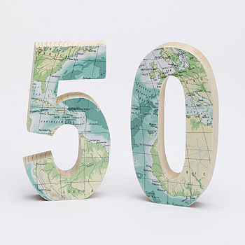 Bespoke Vintage Map Numbers
