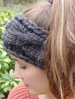 Chunky Hand Knit Headband - Charcoal
