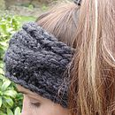 Chunky Hand Knit Headband - Charcoal