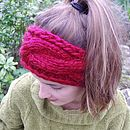 Chunky Hand Knit Headband - Cherry Red