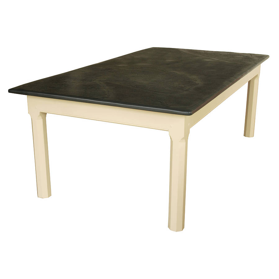 large painted slate top farmhouse table by slate top tables