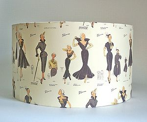 Vintage 1950's Fashion Lampshade - lighting