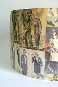 1950's Gentlemen's Fashion Lampshade - lamp bases & shades