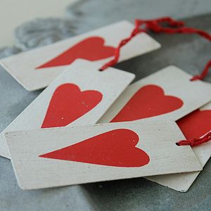 White Metal Heart Tags - wedding stationery