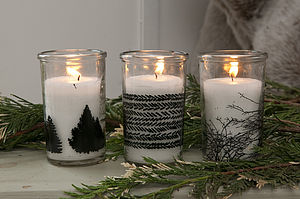 Set Of Three Silhouette Candles