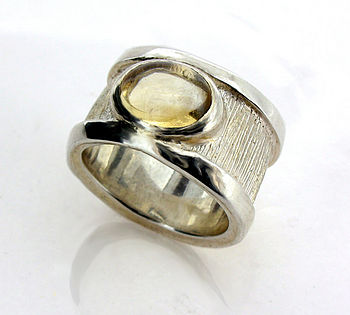 Sterling Silver Citrine Drum Ring