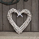 small white wicker heart