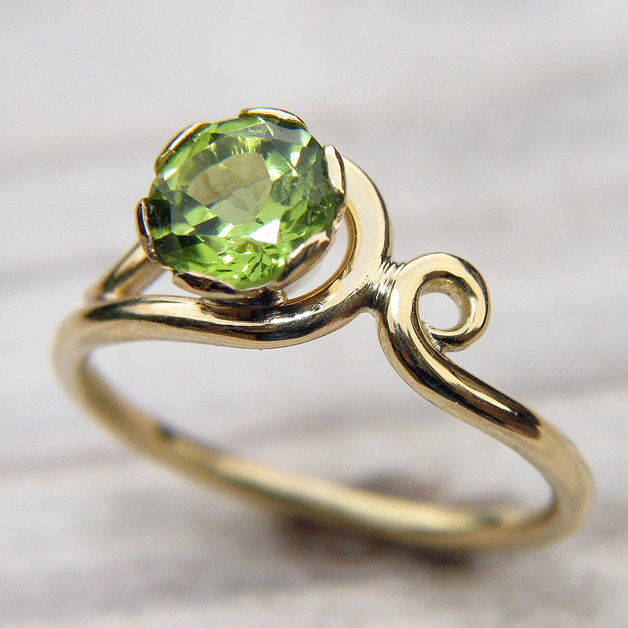 Lilia Nash Jewellery Peridot Art Nouveau Style Ring In 18ct