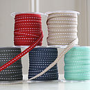 Roll of Skinny Ribbon - Red, Stone, Dark Grey, Midnight Blue or Sea Green