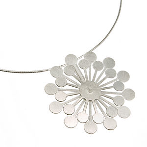 Silver Dandelion Flower Pendant Necklace