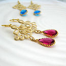 Gold Scroll And Glass Drop Earrings