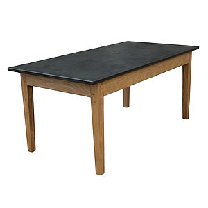 Handmade Green Oak Slate Top Garden Table - garden furniture