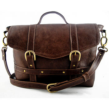 Handcrafted Midi Satchel - Rustic Brown