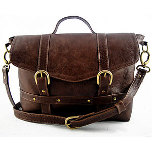 Handcrafted Midi Satchel - Rustic Brown - shoulder bags
