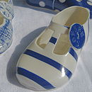 cobalt blue wide stripe decorative porcelain shoe