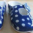 Cobalt blue polka dot decorative porcelain shoe