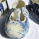 cobalt blue denim decorative porcelain shoe