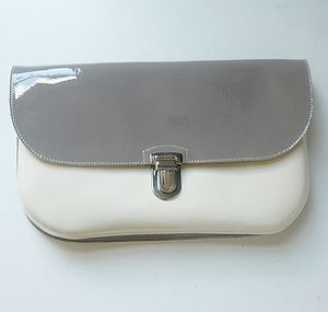 Cream & Grey Patent Leather Clutch - best-dressed guest