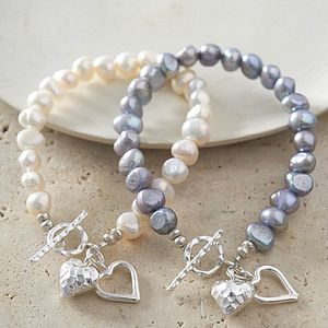Silver Heart Bracelet With Freshwater Pearls - gifts for her