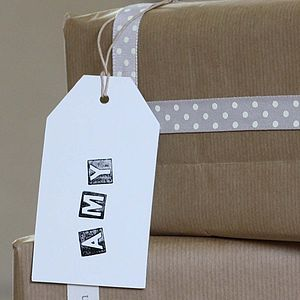 Six Large Cream Card Luggage Tags - diy stationery
