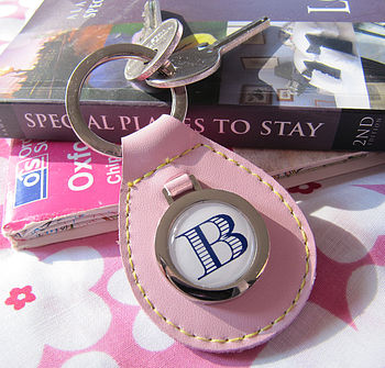 Personalised Pink Leather Initial Keyring