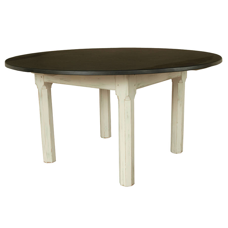 painted round slate top farmhouse table by slate top tables
