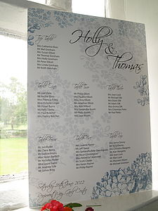 Personalised Sophie Table Plan - outdoor decorations