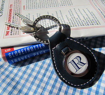 Personalised Blue Leather Initial Keyring
