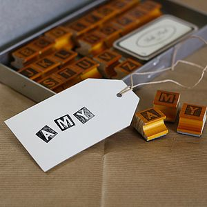 Rubber Alphabet Stamps And Ink Pad Upper Case - diy stationery