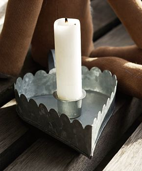 Zinc Heart Candle Holder S/Two